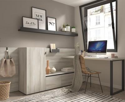 Schreibtisch mit Stauraum, Schubladen und Zeitschriftenregalen