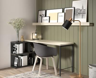 Schreibtisch mit Regal und Zeitschriftenregalen