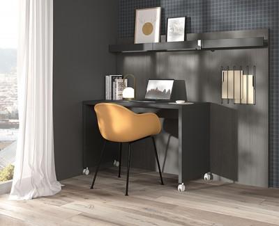 Schreibtisch mit Rollen und Paneelen mit Zeitschriftenregalen und elastischen Regalen