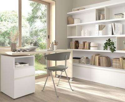 Drehbarer Schreibtisch mit 2 Schubladen und Bücherregal mit 2 Schubladen