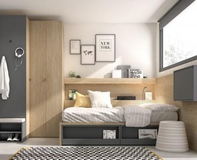 Jugendzimmer mit Kompaktbett, Eckschrank und Klappschreibtisch
