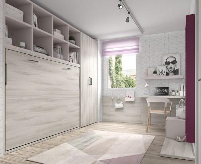 Zimmer mit Klappbett (Öffnung mit Voice-Assistent) inkl. Schrank und Schreibtisch mit Regalen