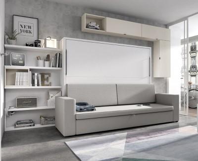 Schlafzimmer mit ausziehbarer Schlafcouch mit Stauraum und Regalen