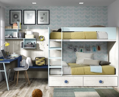 Kinderzimmer bestehend aus Etagenbett und Schreibtisch