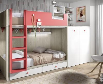 Einrichtung bestehend aus Etagenbett und abnehmbaren Kleiderschrank plus Schreibtsich