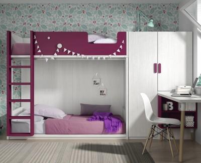 Kinderzimmer bestehend aus Etagenbett, Kleiderschrank und Schreibtisch