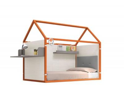 lackiertes beplanktes Kinderhaus  mit Schreibtisch und Wandregal