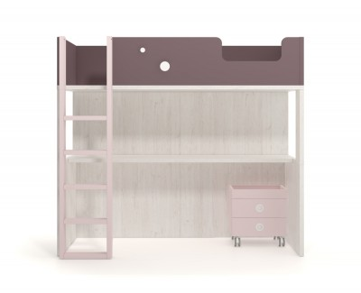 Hochbettkombination mit Schreibtisch und zwei rollbaren Schubkästen