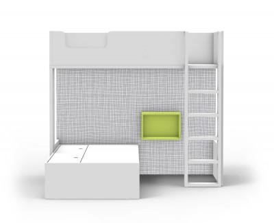 Etagenbett mit Kompaktbett und Zeitschriftenschublade