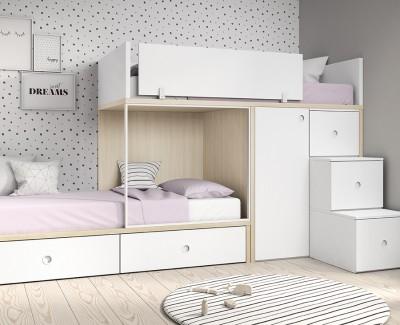 Etagenbett mit 2 Schubladen, 1-türigem Kleiderschrank und 3-Schubladenstufen