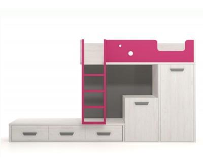 Einrichtung bestehend aus Etagenbett, Schreibtisch und abnehmbaren Kleiderschrank
