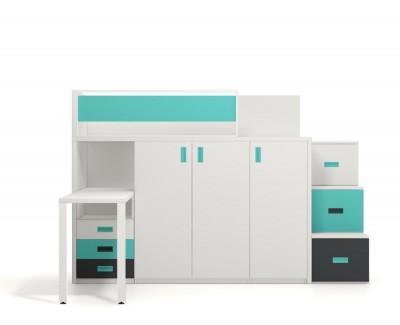 Hochbett mit Schreibtisch, Kleiderschrank und Schubkästen