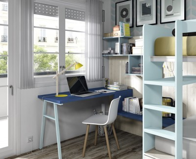 Schreibtisch mit Wandregalen