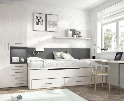 Jugendzimmer mit Ausziehbett, Kleiderschrank und Schreibtisch mit abnehmbaren Möbeln