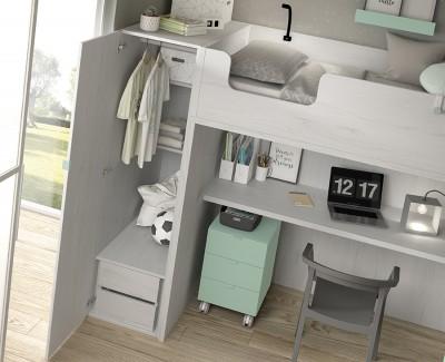 Jugendzimmer aus Etagenbett mit Schreibtisch und Schrank
