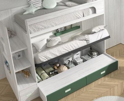 Schlafzimmer mit Etagenbett mit 3 Schubladen, Schreibtisch mit 4 Schubladen, Eckschrank und Regal