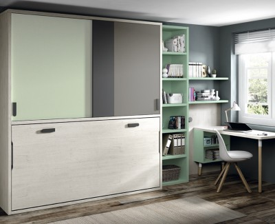 Jugendzimmer bestehend aus Klappbett, Regal, Schreibtisch und Kleiderschrank