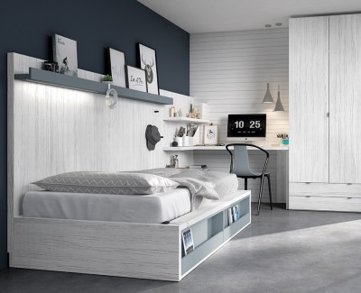 Kompaktbett mit Truhe und Klappfächern