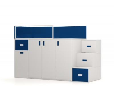 Hochbett mit abnehmbaren Schreibtisch, Kleiderschrank und Schubkästen