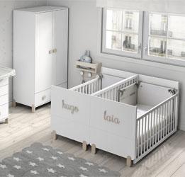 Lit bébé convertible pour jumeaux avec couvercle pour le lit tiroir